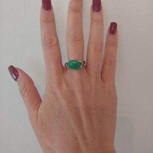 Emerald Natural Stone Silver Oval Ring Size 10